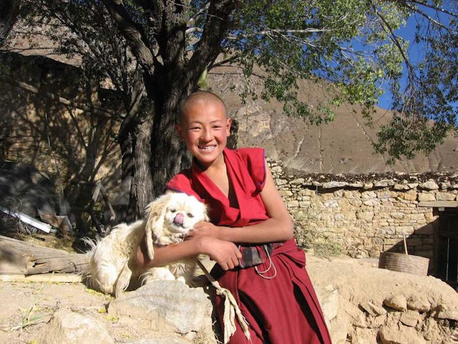 Young monk with Lhasa Apso
